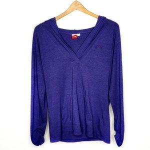 Puma Purple Pullover Hoodie Long Sleeve Shirt L